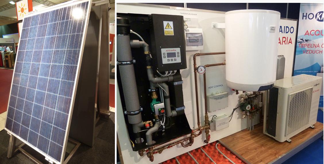 Fotovoltaický panel | Zostava: tepelné čerpadlo (vzduch/voda), zásobník a rúrky podlahového kúrenia
